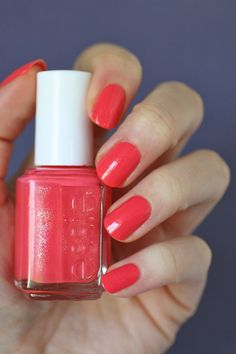 Essie Sunday Funday - coral w/ subtle shimmer. polish / lacquer / vernis, swatch / manicure by Essie Envy Pretty Nail Colors, Spring Nail Colors, Spring Nails, Pretty Nails, Gorgeous Nails, Essie Nail Polish, Nail Polish Colors, Orange Nails, Red Nails