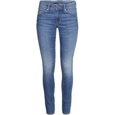 H&M Superstretch trousers ($23) ❤ liked on Polyvore featuring pants, denim blue, 5 pocket pants, h&m trousers, five pocket pants, h&m and blue pants