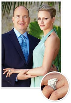 Prince Albert of Monaco #proposed to Charlene Wittstock with a pear-shaped engagement #ring accented with round pave #diamonds.