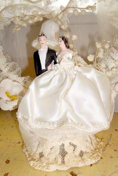 Vintage Wedding Cake Topper Bride Groom Heart 1950s via Etsy.