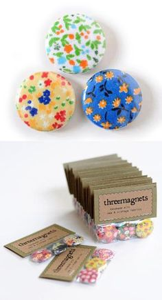 Magnet Set - Tiny Flowers @ Imaginary Animal craft craft diy craft for kids craft no sew craft to sale Diy Craft Projects, Easy Diy Crafts, Diy Crafts To Sell, Glass Magnets, Diy Magnets, Fabric Crafts, Paper Crafts, Craft Show Ideas, Craft Sale