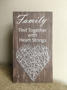 DIY Kit  Heart String Art  Family Sign  Tied by SeventhAndLark