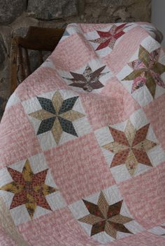 """""""Lovely Stars"""" Quilt.  A quilt design Leslie Ison and I did to gather when we had Remember When Pattern Co."""