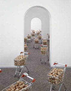 Rubbelräume, 2006; childrens shopping trolleys, eggs, dimensions variable;  exhibition view, Museum am Ostwall, Dortmund 2006; photo: Bernd Borchardt