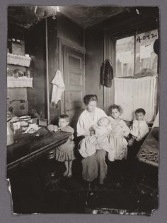 "Meyers, Hiram, ""Mother and four children kitchen,"" CU Libraries Exhibitions 