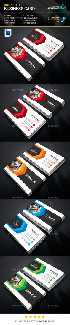 Corporate Business Card Template PSD. Download here: https://graphicriver.net/item/corporate-business-cards/17408104?ref=ksioks
