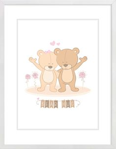 """Bear Hug"" Nursery Wall Print to brighten up your kid's room. Artwork prices start at $7.00. #nurserywallprints #bearhug #bears #teddybears"