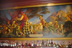 "The ""Pied Piper"" mural by Maxfield Parrish in the ""Pied Piper Bar"" at the new Palace Hotel"