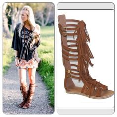 "⭐LAST SIZES 5.5 or 6⭐️NIB Fringe Gladiator Sandal NIB Tall Fringe Gladiator Sandals in Cognac. Fringe detailed gladiator sandals, with adjustable buckle straps (ankle and top of calf adjustable).Zipper closure in back lines the middle of the calf. All man-made materials. Lightly padded sole for comfort, heel height approx .75"". Available in 5.5 or 6No Trades and No PaypalPrice is firm, not eligible for bundle discount. SOLD OUT OF 6.5-10 Shoes Sandals"