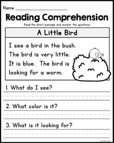 FREE Kindergarten Reading Comprehension Passages - Set 2 by Kaitlynn Albani 1st Grade Reading Worksheets, First Grade Reading Comprehension, English Worksheets For Kindergarten, Phonics Reading, Kindergarten Writing, Teaching Reading, Grade 1 Worksheets, Free Reading Comprehension Worksheets, 1st Grade Activities
