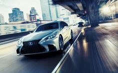 Download wallpapers Lexus LS 500 F Sport, 2018, silver sedan LS 500, new cars, luxury cars, business class, road, speed, Lexus