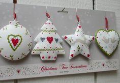 Caroline Zoob Set of 4 Hand-painted Tin Christmas Decorations