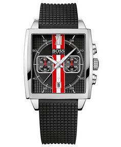 Hugo Boss Watch, Men's Chronograph Black Textured Rubber Strap