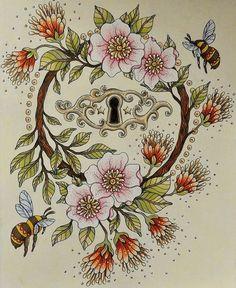 The lock. From Sommarnatt by Hanna Karlzon #sommarnatt #hannakarlzon #sommarnattmålarbok #coloring