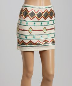 Look what I found on #zulily! Pink & Blue Abstract Sequin Mini Skirt #zulilyfinds