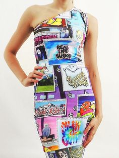 Jeremy Scott One Shoulder Dress
