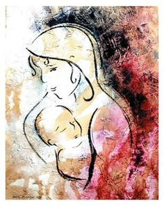 Stenciling on canvas with joint compound for texture, coffee stain for an aged effect, and simple, stylized stencil of Mary and baby Jesus using acrylic paint.