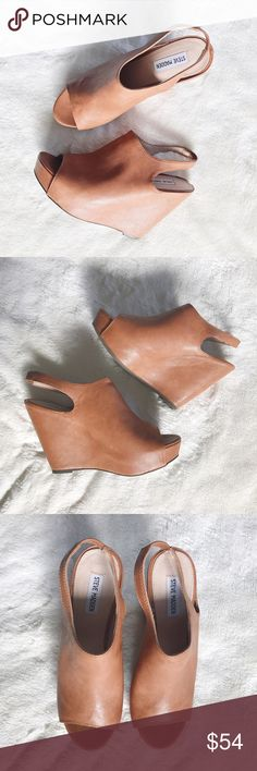 """STEVE MADDEN peep toe sling-back wedges These lovely STEVE MADDEN peep-toe platform wedges will be the perfect addition to your spring wardrobe! PERFECT condition!  Featuring a leather upper, a rounded peep toe, a slingback ankle strap and a covered platform wedge. Heel height: 4 1/2"""" Synthetic outsole. Steve Madden Shoes Wedges"""