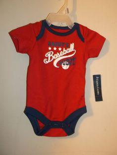 new red Daddy's baseball buddy baby body suit infant sleeper newborn