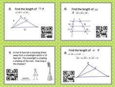 Similar Triangles and Proportionality Theorem Task Cards w/ QR Codes