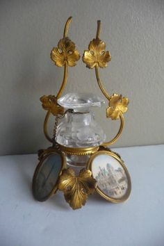 Antique 19th century Victorian gilt, metal leaf Inkstand and Inkwell