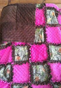 Realtree Camo Pink Minky Rag Quilt Baby Blanket Crib Girl | eBay