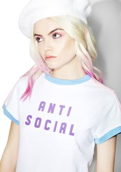 Lazy Oaf Anti Social Tee f you think this is a cheeky conversation starter, please rethink your life choices and go awayyy!! Revel in the introvert life with this dope lil tee, featurin' a comfy white construction, baby blue trim, pink contrast panels down both sleeves, and bold lettering on the chest reading 'ANTI SOCIAL.'
