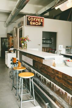 Ali & Dustin's Reinvented Piece of Denver History: The Black Eye Coffee Shop Workspace Tour | Apartment Therapy