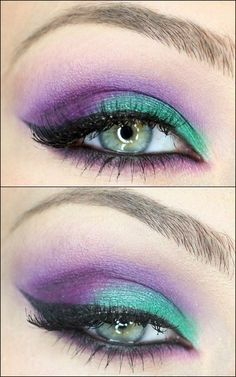 Green and purple make up