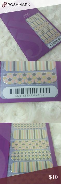 Jamberry nail wraps full sheet This is a style box exclusive silver metallic with different patterns. This funky wrap has colors of pink, cream/yellow, silver and gray. Other