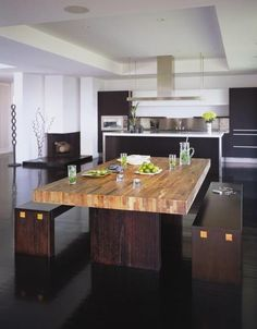 Kitchen with a wooden bench dinner table