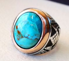 Arizona turquoise blue natural stone ring sterling silver 925