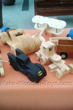 Batmobile, Road Grader: Some of the toys for sale at the Plaza shopping center in Narooma.  The designs featured made from some of the free plans available on this site.  The