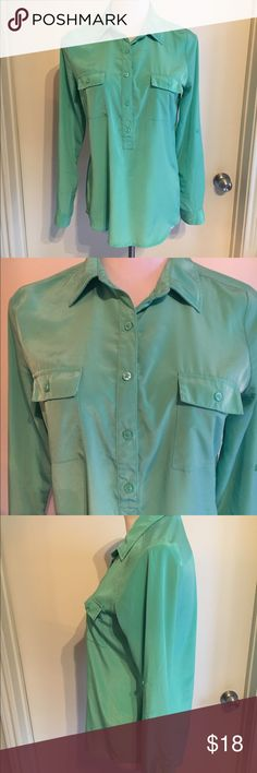 Old Navy Mint Button Up Blouse Long Sleeve Classic button up silhouette in a beautiful modern mint green color from Old Navy. Fits true to size and is super comfy! Top has a bit of stretch and drapes really beautifully. Long sleeve, pocket details, buttons all he way down. Great for work! Old Navy Tops Blouses