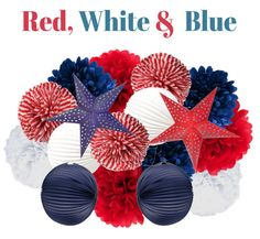 Red White and Blue Hanging Party Decorations  by ChrissyBPartyShop