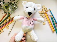 Teddy Bear amigurumi doll, crochet teddy, pink sweater #amigurumi #crochet #crocheting #doll #dolls #toys #toy #nurseryideas #babygirl #constellation #stars #bigdippr #embroidery #babyshower #polarbear