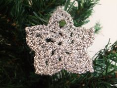 Set of 5 Crocheted metallic star decorations, silver handmade hanging ornaments