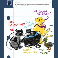 JASON: Crazy Nastyass Honey Badger. Honeybadger don't care. Honeybadger don't give a shit. (NSFW)  TIM: Duck. Hey you, Drake. I want you to be my husband. (NSFW)   DAMIAN: TINY ANGRY KITTEN. no explanation necessary.   DICK: It's a Dickiebird okay. NIGHTTIME…DAYTIME…NIGHTTIME.
