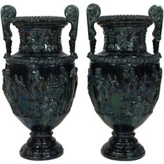 Pair of Large French Glazed Ceramic Grecian Style Urns ❤ liked on Polyvore featuring home, home decor, french home decor, french home accessories, french urn, ceramic urn and ceramic home decor