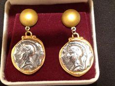 VIntage Bulgari BVLGARI  Style Coin Earrings by RareBeauty on Etsy, $25.00