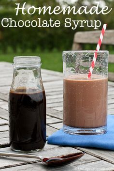 Homemade Chocolate Syrup Recipe -- try this chocolate syrup recipe for a healthier take on chocolate milk, or try it over ice cream for a decadent treat!