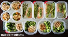 Meal prep ideas - slow cooker chicken and sweet potato/spinach mash (super easy - recipe is in the link), turkey patties with broccoli, salmon with asparagus and P90X pesto sauce. Didn't include my snacks and breakfasts in this picture of meal prepping.