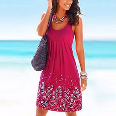 Women's+Going+out+Beach+Vintage+Loose+Dress,Print+Round+Neck+Knee-length+Sleeveless+Cotton+Blue+Red+Black+Summer+High+Rise+Micro-elastic+–+USD+$+12.59