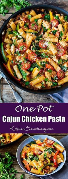 This quick Cajun chicken one-pot is a winner for the family dinner table. Cajun spiced chicken in a creamy tomato sauce – with pasta and extra veg. paleo dinner for one Chicken Spices, Chicken Recipes, Healthy Chicken Pasta, Cajun Chicken Pasta Slimming World, Creamy Cajun Chicken Pasta, One Pot Cajun Pasta, Chicken And Chorizo Pasta, Chicken Tomato Pasta, Chicken Milk