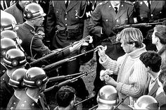 This is an iconic photo from the 1960's of a student putting a flower in the barrel of a soldier's gun.  Peace is beautiful.