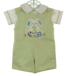 NEW Glorimont Reversible Green Cotton Oxford Striped Shortall and Shirt Set with Bunny Applique $85.00 #EasterOutfit
