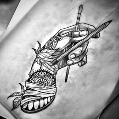 Hand with pencils tattoo sketch Leg Tattoos, Flower Tattoos, Arm Tattoo, Body Art Tattoos, Tribal Tattoos, Tattos, Tattoo Sketches, Tattoo Drawings, Yogi Tattoo