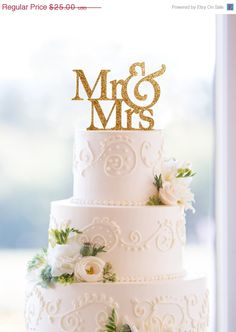 Glitter Mr and Mrs Wedding Cake Topper in your door ChicagoFactory