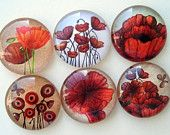Magnets - Poppies - One Inch Premium Glass - Set of Six