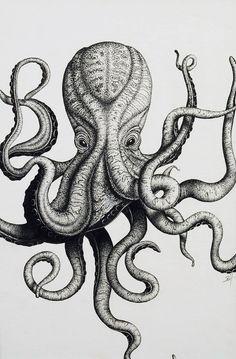 Desenho base para stencil e aplicação de cores Octopus